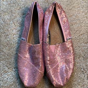 Worn 1x pink glitter Toms. Size 6.5
